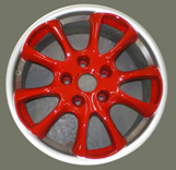 "Porsche 996 GT3 RS 18"" Wheel polished and red"