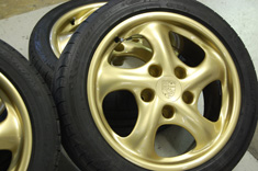 "Porsche 17"" 5 Spoke Twists wheels in powdercoated Gold"
