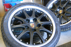 "Porsche 18"" BBS Splitrims in Smooth Matt Black and a Silver Outer rim"