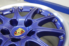 "Porsche 18"" Splitrims in Zenith Blue & Polished outer rim"